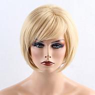 Sintentička kosa perika Ravan kroj Stražnji dio Bob frizura Sa šiškama Capless Prirodna perika Kratko Plavuša