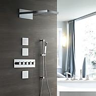 tanie Baterie prysznicowe-Bateria Prysznicowa - Współczesny Chrom Przytwierdzony do ściany Zawór ceramiczny / Mosiądz