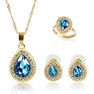 Women's Crystal Jewelry Set Gold Plated Fashion Include Bridal Jewelry Sets Blue For Party Gift