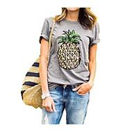 Kortærmet Rund hals Dame Sommer Simple Daglig T-shirt, Polyester
