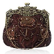 baratos Clutches & Bolsas de Noite-Mulheres Bolsas Poliéster Bolsa de Festa Miçangas / Bordado Bordado Roxo / Café / Khaki