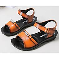 女性用 靴 レザー 春 / 夏 コンフォートシューズ サンダル ローヒール のために ブラック / イエロー / ダックレッド