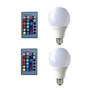 billige Globepærer med LED-2pcs 3W * E26 / E27 LED-globepærer 3 LED perler Dekorativ Fjernstyrt RGB 200-240V 110-120V 110-130V 220-240V