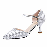 cheap Women's Heels-Women's Shoes PU Spring Fall Basic Pump Comfort Heels Cone Heel for Casual Gold Silver