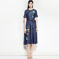 Žene Vintage Traper Haljina - Osnovni Print, Cvjetni print Midi