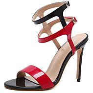 Mujer Zapatos Cuero de Napa Verano Confort / Pump Básico Sandalias Tacón Cuadrado Rosa / Wine Prix Discount dywDL
