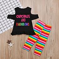 Småbarn Flickor Aktiv Dagligen Tryck Rosett Kortärmad Normal Bomull / Polyester Klädesset Svart / Gulligt