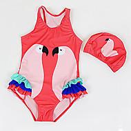 billige Badetøj-Pige Sødt Aktiv Trykt mønster Badetøj, Nylon Uden ærmer Rød Lyserød Beige