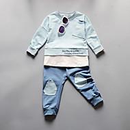 Dječaci Pamuk Jednobojni Žakard Dnevno Škola Proljeće Jesen Dugih rukava Komplet odjeće Slatko Plava Blushing Pink