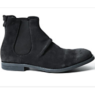baratos Sapatos Masculinos-Homens Couro de Porco Primavera / Outono Conforto Botas Cinzento / Khaki
