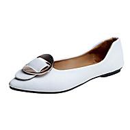 お買い得  レディースフラットシューズ-女性用 靴 繊維 秋 コンフォートシューズ フラット フラットヒール ポインテッドトゥ のために ホワイト ブラック ベージュ ライトブラウン