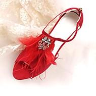 baratos Sapatos Femininos-Mulheres Sapatos Pele Nobuck Primavera / Verão Plataforma Básica Sapatos De Casamento Salto Agulha Peep Toe Penas / Cadarço de Borracha Vermelho