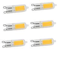 billige Bi-pin lamper med LED-6pcs 2W 350-380lm G9 LED-lamper med G-sokkel 1 LED perler COB Varm hvit Kjølig hvit 220-240V