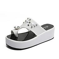 Žene Cipele Guma Ljeto Udobne cipele Sandale Hodanje Ravna potpetica za Vanjski Obala / Crn