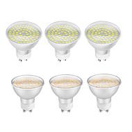 billiga Belysning-6pcs 4W 320lm GU10 LED-spotlights 60 LED-pärlor SMD 3528 Dekorativ Varmvit Kallvit 200-240V