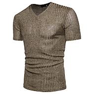 V-hals Herre - Ensfarvet, Pailletter T-shirt Bomuld