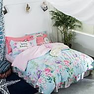 tanie Floral Duvet Okładki-Zestawy kołdra okładka Kwiaty 3 elementy Poly / Cotton Żakard Poly / Cotton 1szt kołdrę 1szt Sham 1szt Flat Sheet