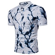 남성용 기하학 셔츠 카라 플러스 사이즈 프린트 - Polo, 베이직 / 짧은 소매