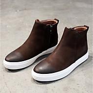 baratos Sapatos Masculinos-Homens Coturnos Couro de Porco Primavera / Outono Botas Botas Curtas / Ankle Preto / Café