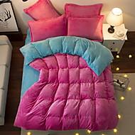 billige Solide dynetrekk-Sengesett Ensfarget Polyester / Bomull Garn Bleket 3 deler