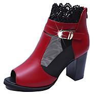お買い得  レディースブーツ-女性用 靴 ラバー 冬 コンバットブーツ ブーツ ラウンドトウ のために アウトドア ブラック レッド グリーン
