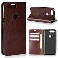 billiga Mobil cases & Skärmskydd-fodral Till OnePlus 5 / OnePlus 5T Plånbok / Korthållare / Stötsäker Fodral Enfärgad Hårt Äkta Läder för One Plus 5 / OnePlus 5T / One Plus 3
