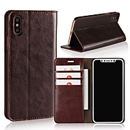 billiga Mobil cases & Skärmskydd-fodral Till Apple iPhone X / iPhone 8 Plus Plånbok / Korthållare / Stötsäker Fodral Enfärgad Hårt Äkta Läder för iPhone X / iPhone 8 Plus / iPhone 8
