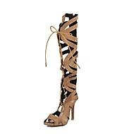 baratos Sapatos Femininos-Mulheres Sapatos Flocagem Verão Inovador / Gladiador Sandálias Salto Agulha Dedo Aberto Botas Cano Alto Cinzento / Marron / Vermelho