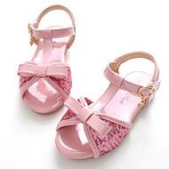 tanie Obuwie dziewczęce-Dla dziewczynek Buty Skóra patentowa Lato Buty dla małych druhen Bez pięty Sandały Tasiemka na Casual Formalne spotkania Różowy Khaki