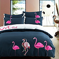 Duvet Cover Sets Embellished&Embroidered 4 Piece Poly/Cotton Embroidery Poly/Cotton 1pc Duvet Cover 2pcs Shams 1pc Flat Sheet