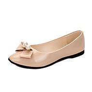 hesapli -Kadın's Ayakkabı PU Bahar Rahat Düz Ayakkabılar Düz Taban Sivri Uçlu Günlük için Fiyonk Beyaz Siyah Gri Fuşya Pembe