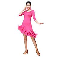 cheap Dancewear & Dance Shoes-Latin Dance Dresses Women's Training Milk Fiber Tassel 3/4 Length Sleeves Natural Dress Shorts