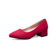 baratos Sapatos Femininos-Mulheres Sapatos Couro Ecológico Primavera / Verão Conforto Sandálias Salto Baixo Ponta Redonda Colchete Branco / Preto / Vermelho