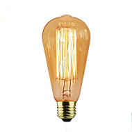 billige Glødelampe-1pc 40 W E26 / E27 ST58 Varm hvit / Varm Gul 2300 k Kontor / Bedrift / Dekorativ Glødende Vintage Edison lyspære 220-240 V / 110-120 V
