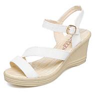 Women's Wedge Heels PU(Polyurethane) Summer Comfort Sandals Wedge Heel Gold / White / Blue