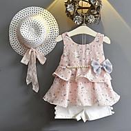 Pige Tøjsæt Daglig I-byen-tøj Blomstret, Rayon Polyester Sommer Uden ærmer Sødt Gade Lyserød Gul