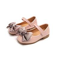 お買い得  フラワーガールシューズ-女の子 靴 レザーレット 春 コンフォートシューズ / フラワーガールシューズ フラット リボン / 面ファスナー のために ブラック / グレー / ピンク
