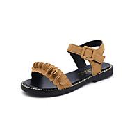 baratos Sapatos Femininos-Mulheres Sapatos Cashmere Verão Sandálias Caminhada Salto Robusto Ponta Redonda Combinação Preto / Amarelo / Verde Tropa