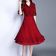Women's Casual Sophisticated Flare Sleeve Slim Sheath Dress - Solid Colored, Cut Out