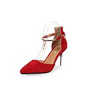 baratos Sapatos Femininos-Mulheres Sapatos Flocagem / Couro Ecológico Primavera / Verão Tira no Tornozelo Saltos Salto Agulha Dedo Apontado Pérolas Sintéticas /