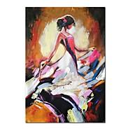 baratos -Pintados à mão Abstrato Pessoas Vertical, Contemprâneo Modern Tela de pintura Pintura a Óleo Decoração para casa 1 Painel