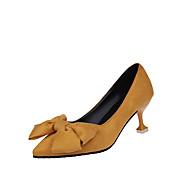 お買い得  レディーススリップオン&ローファー-女性用 靴 PUレザー 冬 秋 前かがみのブーツ コンフォートシューズ ヒール ローヒール ラウンドトウ 編み上げ のために カジュアル ブラック オレンジ ピンク
