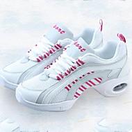 baratos Sapatilhas de Dança-Mulheres Tênis de Dança Lona / Tule Têni Recortes Salto Baixo Personalizável Sapatos de Dança Rosa e Branco