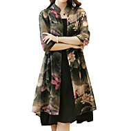 Damen Übergrössen Boho Hülle Kleid - Druck, Blumen Knielang Gurt