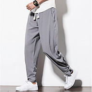 cheap -Men's Chinoiserie Plus Size Linen Harem / Loose / Sweatpants Pants - Solid Colored Navy Blue / Spring