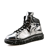 cheap Women's Sneakers-Women's Shoes Patent Leather Spring Fall Comfort Sneakers Flat Heel Round Toe for Casual Black Silver Red