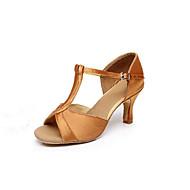 בגדי ריקוד נשים נעליים לטיניות / נעלי סלסה סטן סנדלים אבזם עקב מותאם מותאם אישית נעלי ריקוד חום / מוזהב / פוקסיה / בבית