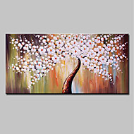 cheap Oil Paintings-Hand-Painted Abstract Floral/Botanical Horizontal, Modern Oil Painting Home Decoration One Panel