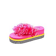 tanie Obuwie damskie-Damskie Sandały wedge PU Lato Wygoda Sandały Spacery Creepersy Odsłonięte palce Klamra Żółty / Czerwona róża / Różowy