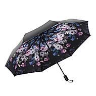 baratos Mais Populares-Tecido Mulheres / Todos Ensolarado e chuvoso / Prova-de-Vento Guarda-Chuva Dobrável